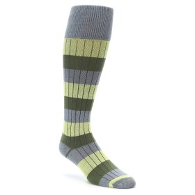 Over the Calf Men's Socks in Green and Grey by zKano