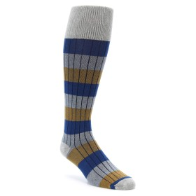 Ribbed Over the Calf Men's Dress Socks in Grey and Blue