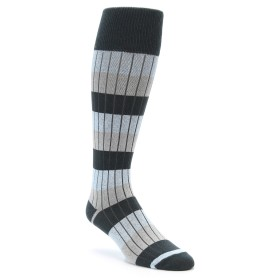 Over the Calf Men's Ribbed Dress Socks by zkano in grey and light blue
