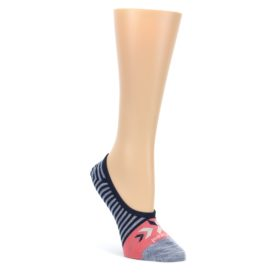 Navy-Gray-Coral-Stripe-Wool-Womens-Liner-No-Show-Socks-Smartwool