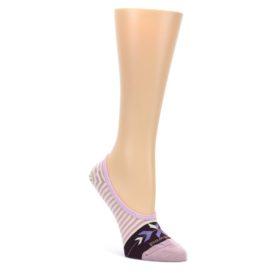 Cream-Purples-Stripe-Wool-Womens-Liner-No-Show-Socks-Smartwool
