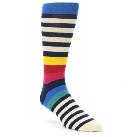 21411-Navy-Cream-Red-Yellow-Blue-Stripe-Men's-Dress-Socks-Ballonet-Socks01