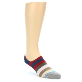 21706-red-navy-brown-pink-stripe-men's-liner-socks-stance01