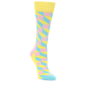 21878-Yellow-Pink-Blue-Optical-Women's-Dress-Socks-Happy-Socks01
