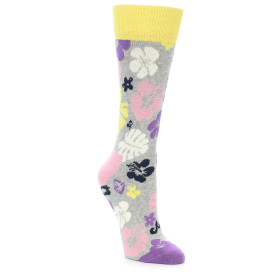 21880-Grey-Hawaiian-Floral-Women's-Dress-Socks-Happy-Socks01