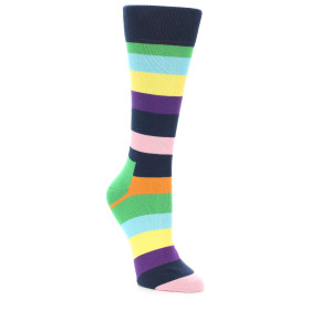21881-Navy-Multi-Color-Stripe-Women's-Dress-Socks-Happy-Socks01