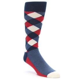21888-Red-White-Blue-Diamonds-Men's-Dress-Socks-Happy-Socks01
