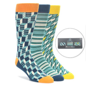 Aqua Blue Statement Sockwear Gift Box 3 Pack of Socks