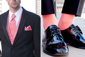 Black Tuxedo with Coral Socks