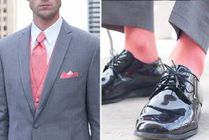 Light Gray Tuxedo with Coral Socks