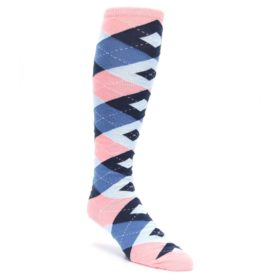 Pink-Blue-Navy-Argyle-Mens-Over-the-Calf-Dress-Socks-Statement-Sockwear
