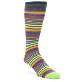 21955-Grey-Orange-Multi-Color-Stripes-Men's-Dress-Socks-Yo-Sox01