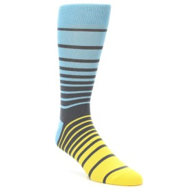 21964-Yellow-Blue-Grey-Stripe-Men's-Dress-Socks-PACT01