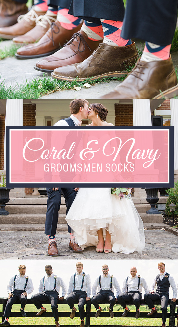 Coral and Navy Wedding Socks