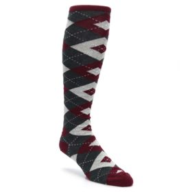 Burgundy-Gray-Argyle-Mens-Over-the-Calf-Dress-Socks-Statement-Sockwear