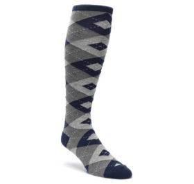 Navy-Gray-Argyle-Mens-Over-the-Calf-Dress-Socks-Statement-Sockwear