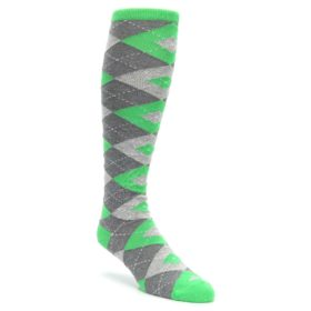 Kelly-Green-Gray-Argyle-Mens-Over-the-Calf-Dress-Socks-Statement-Sockwear