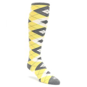 Sunbeam-Yellow-Gray-Argyle-Mens-Over-the-Calf-Dress-Socks-Statement-Sockwear