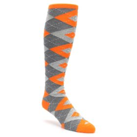 Tangerine-Orange-Gray-Argyle-Mens-Over-the-Calf-Dress-Socks-Statement-Sockwear