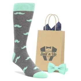Mint Gray Mustache Socks with Matching Mint Bow Tie