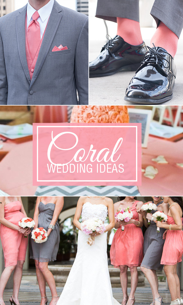 Coral and Gray Wedding Ideas Featuring Coral Men\'s Dress Socks ...