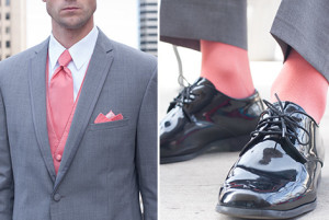Coral and Gray Groomsmen Socks