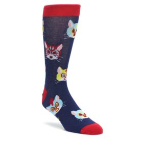 Navy-Red-Gato-Libre-Cats-Mens-Dress-Socks-Sock-It-To-Me