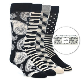 22290-Black-White-Paisley-Men's-Dress-Socks-Gift-Box-4-Pack-Happy-Socks01