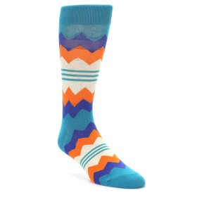 22205-Teal-Orange-Zig-Zag-Stripe-Mens-Dress-Socks-Richer-Poorer01