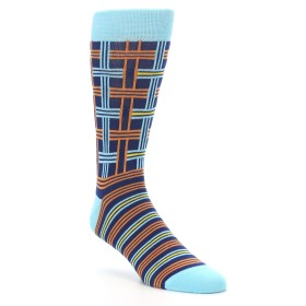 Statement Sockwear Plaid Navy and Orange Socks