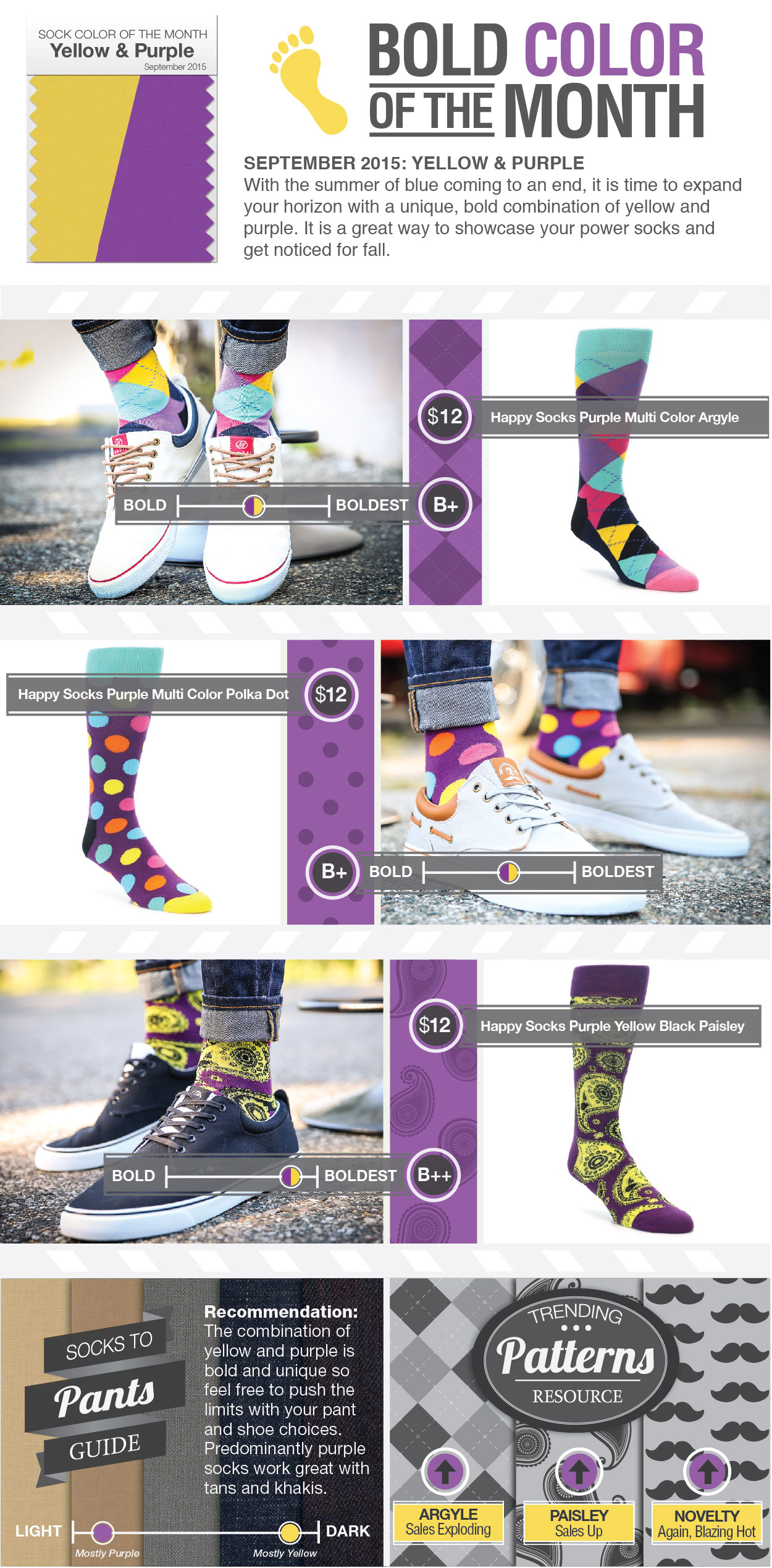 September Socks Color of the Month: Purple and Yellow