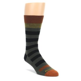 Rust-and-Green-Block-Stripe-Mens-Lifestyle-Socks