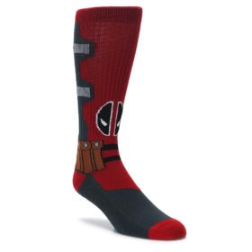 mens deadpool red grey marvel novelty dress socks