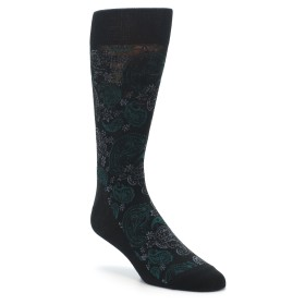 Black Green Paisley Wedding Socks for Groomsemn