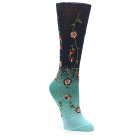 22629-Navy-Green-Flowers-Womens-Dress-Socks-Ozone01