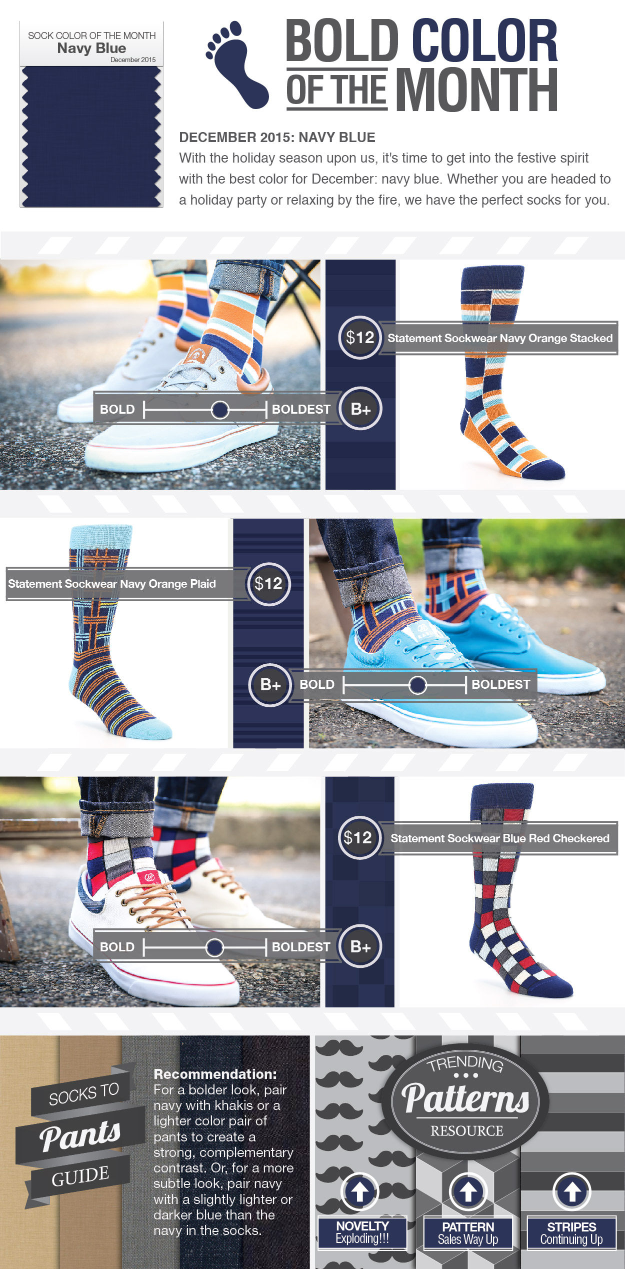December Color of the Month - Navy Blue Socks