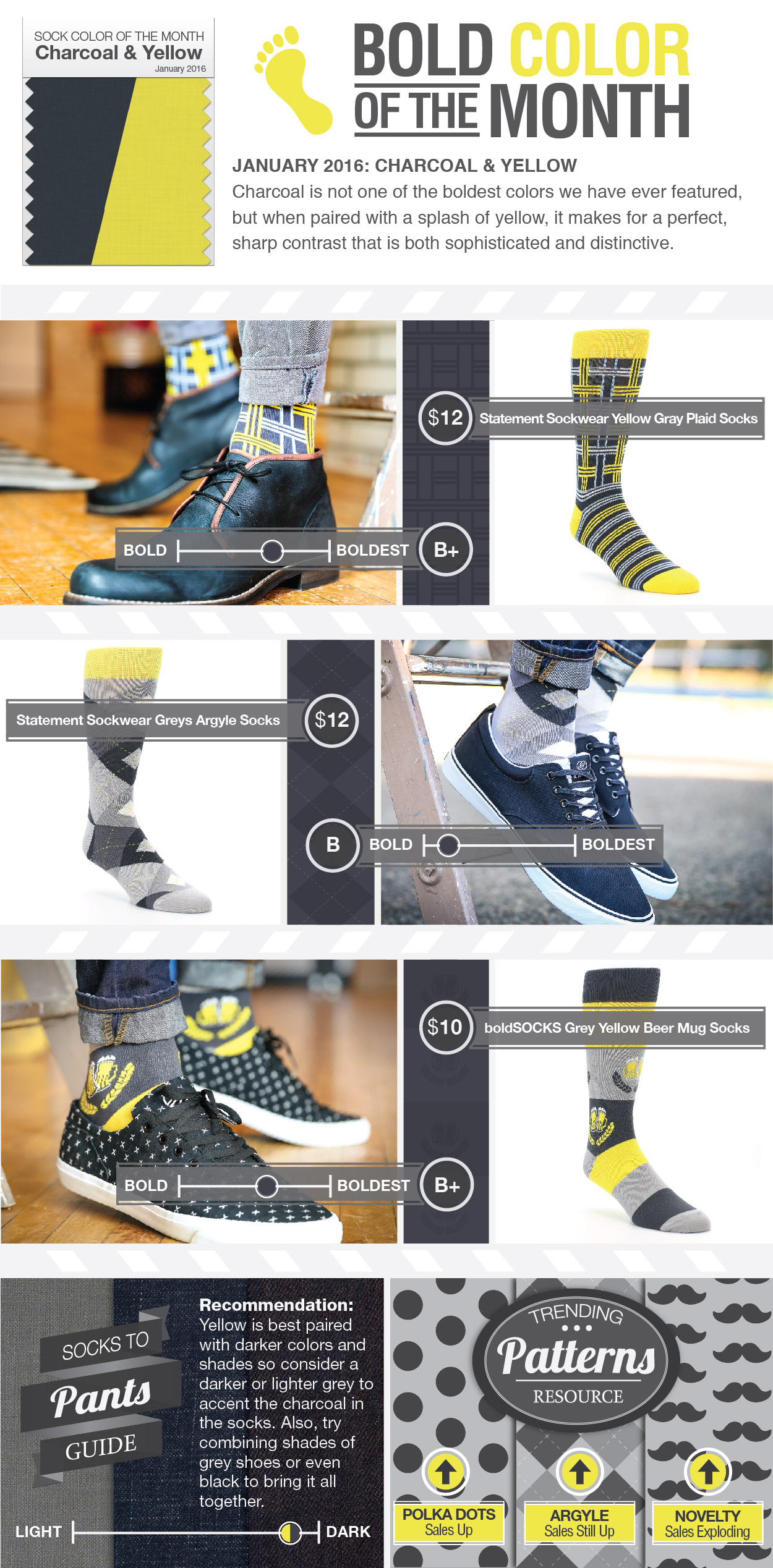 January Color of the Month - Charcoal & Yellow Socks