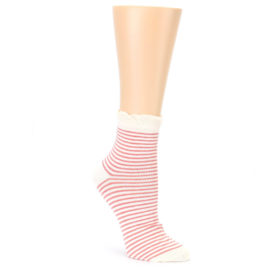 24097-Coral-Cream-Stripes-Womens-Ankle-Socks-PACT01