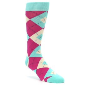 Spa Green and Fuchsia Wedding Socks in Argyle by Statement Sockwear