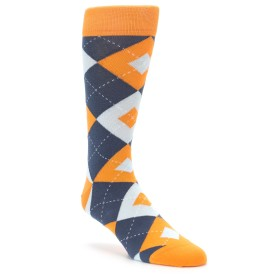 Tangerine Orange Argyle Groomsmen Wedding Socks