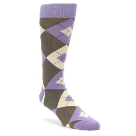 Purple Brown Argyle Groomsmen Wedding Socks