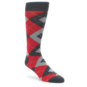 Red Grey Argyle Wedding Socks by Statement Sockwear