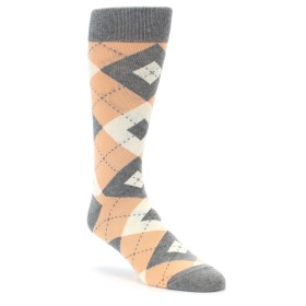 Peach Argyle Wedding Socks by Statement Sockwear