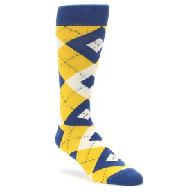 Yellow Blue Argyle Groomsmen Socks by Statement Sockwear