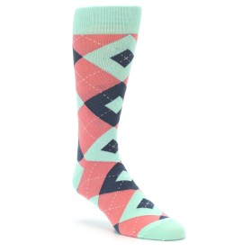 Coral and Mint Groomsmen Wedding Socks by Statement Sockwear