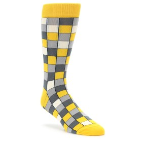 Yellow Grey Checkered Socks by Statement Sockwear