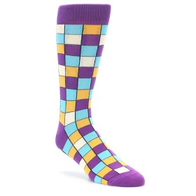 Purple Blue Orange Checkered Dress Socks