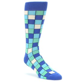 Teal Blue Checkered Socks by Statement Sockwear