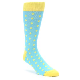 Blue and Yellow Polka Dot Groomsmen Socks