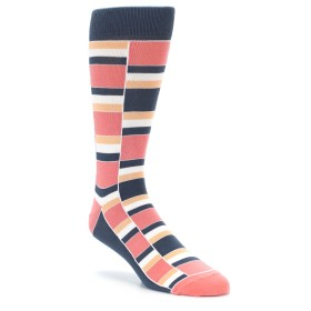 Coral and Peach Wedding Socks for Groomsmen
